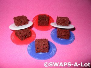 Mini Plate of Brownies SWAPS Kit for Girl Kids Scout - looks like a brown sponge that has been cut into small pieces on poker chips.