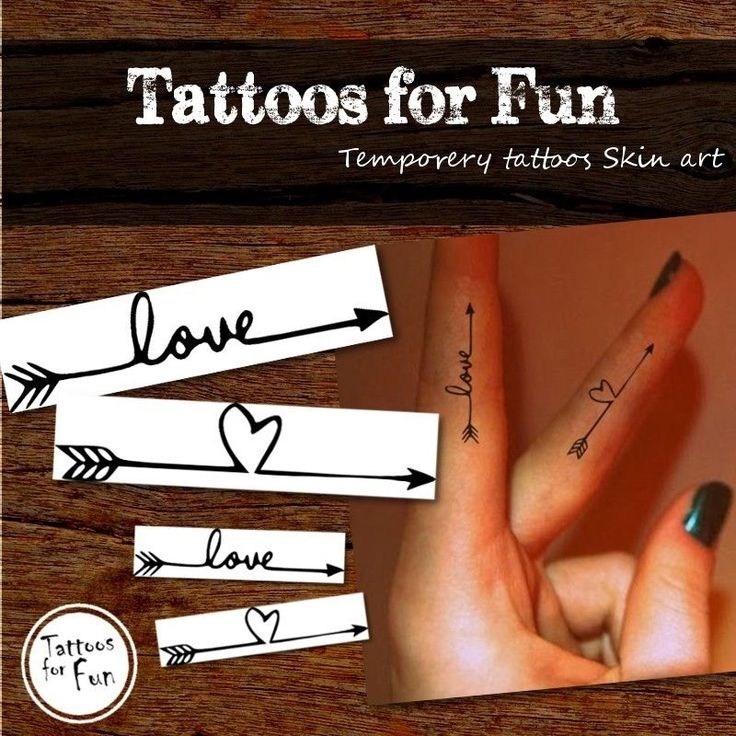 Arrow Temporary Tattoos - Love Arrow Tattoos - Cute Fake Black & White ...