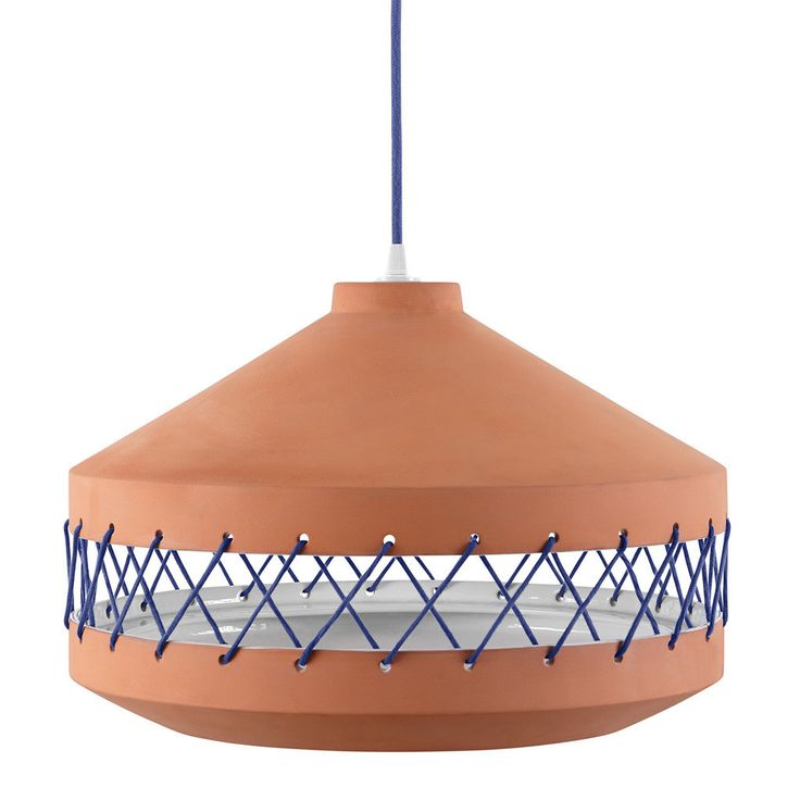 Large terracotta Tie Lamp with blue coloured cotton ties.