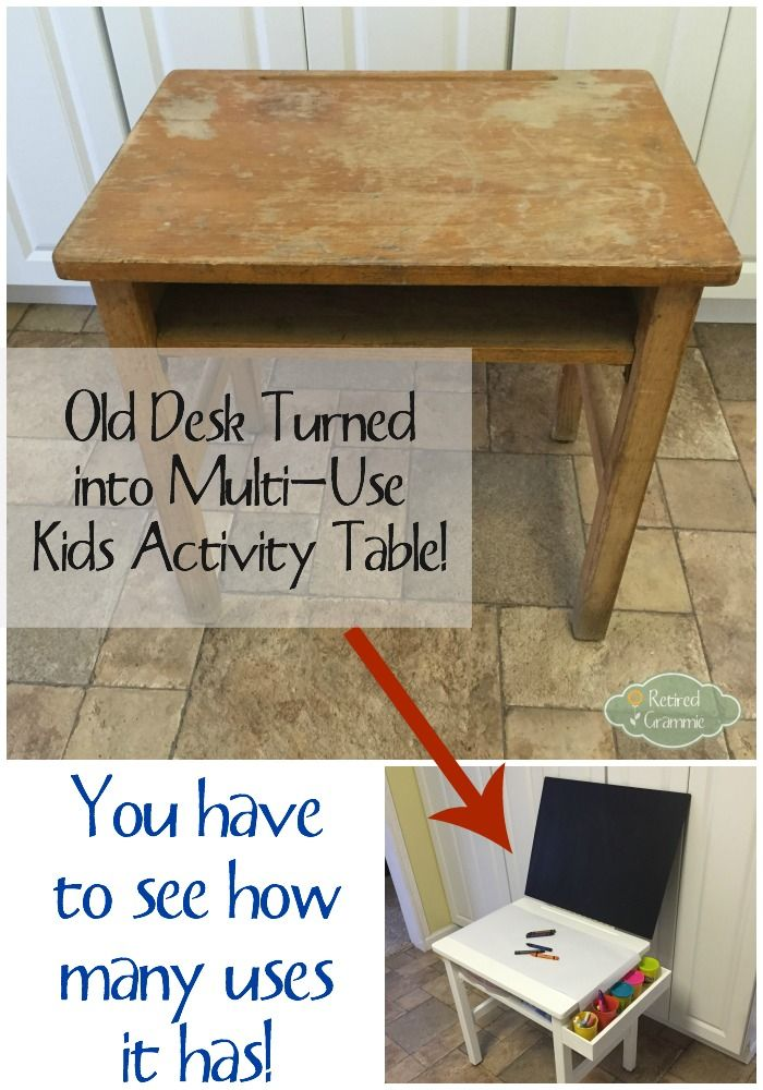 Old desk turned into a Multi-use kids activity table! So easy and so creative! The kids will have fun for hours!