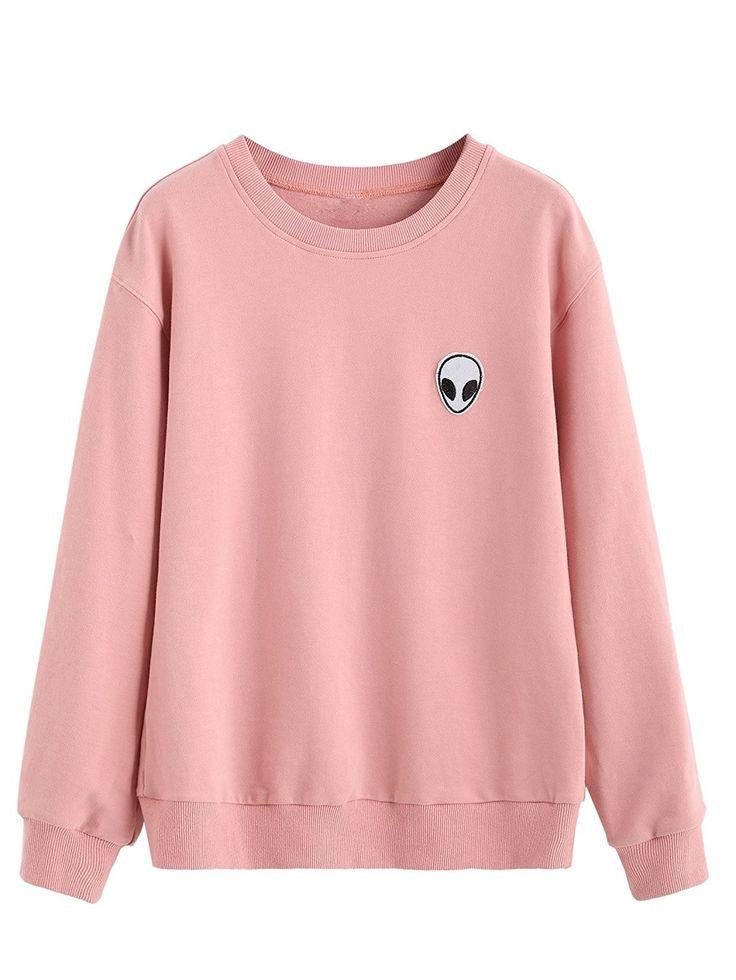 Womens Casual Long Sleeve Pullover Sweatshirt Alien Patch Shirt Tops – Pink – CF12N4W0G2M