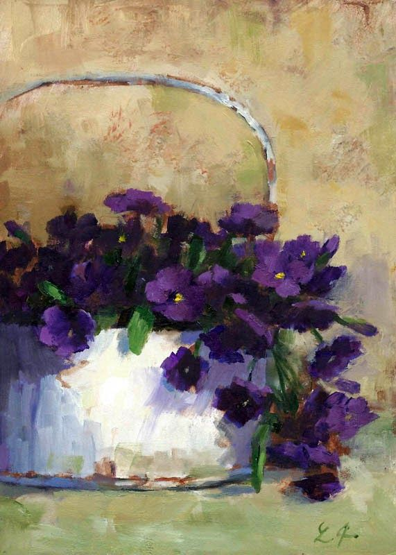 Linda's Witness in Art: Country Purple oil 5x7 Sold