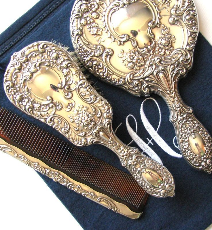 """Beautiful Gorham sterling silver dresser set, stored in a 9"""" x 12"""" anti-tarnish bag by Sherwood Silver Bags."""