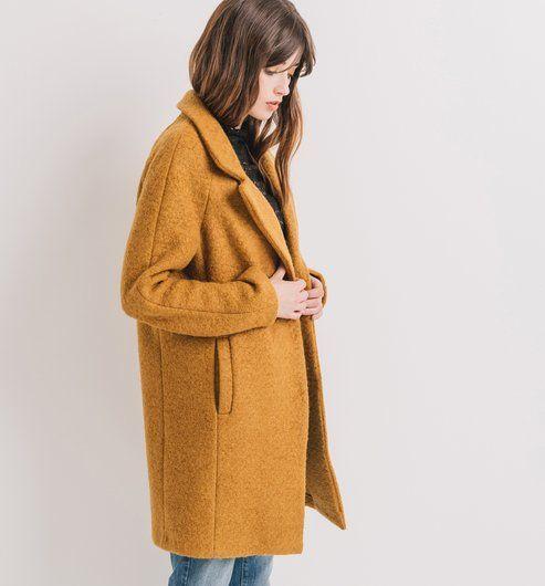 Manteau en laine mélangée ocre - Promod
