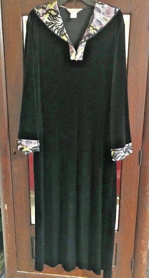 Diamond Tea Robe Black Velvet Velour Dressing Gown Xl Ornate Collar