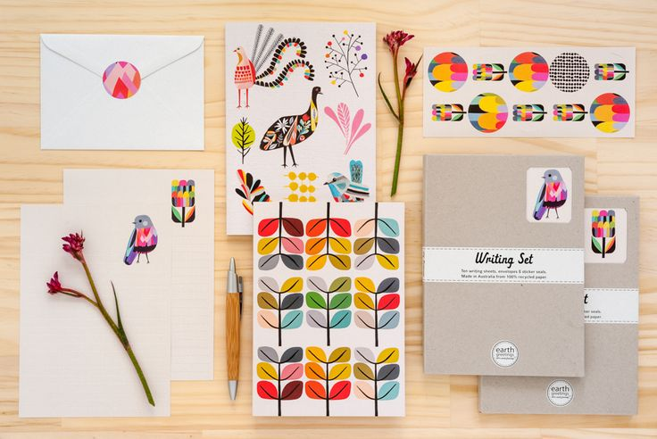 Journals and Writing Sets designed by Inaluxe for Earth Greetings.  Made in Australia from 100% post-consumer waste and Accredited Carbon Neutral.