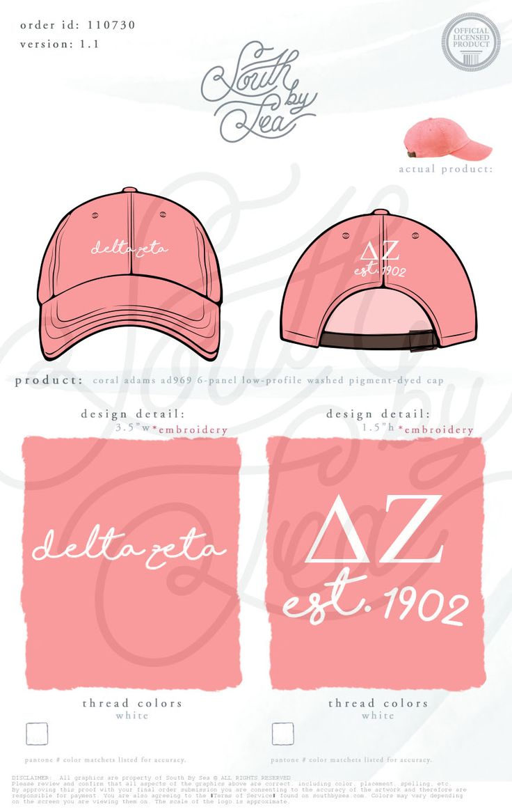 Delta Zeta | DZ | Embroidered Ball Cap Design | Sorority Baseball Hat | Sorority Accessories | South by Sea | Greek Tee Shirts | Greek Tank Tops | Custom Apparel Design | Custom Greek Apparel | Sorority Tee Shirts | Sorority Tanks | Sorority Shirt Designs