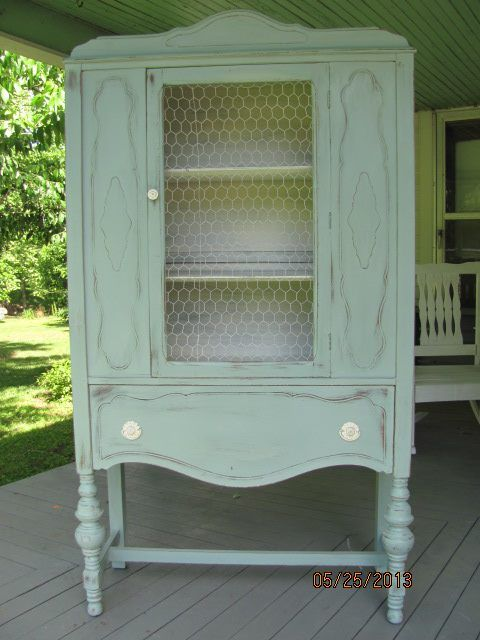 Annie Sloan Duck Egg Blue Old White antique china cabinet reloved by Sassy  Chic Cottage