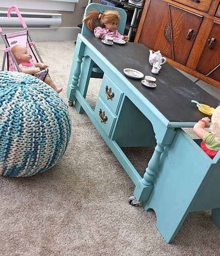 A coffee table re-purposed into a kids table