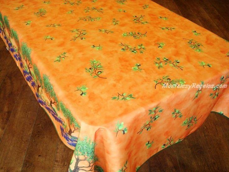 Mantel Antimanchas de Poliéster - Modelo OLIVAS Y ÁRBOLES - Naranja http://www.mantelesyregalos.com/25-manteles-antimanchas-poliester