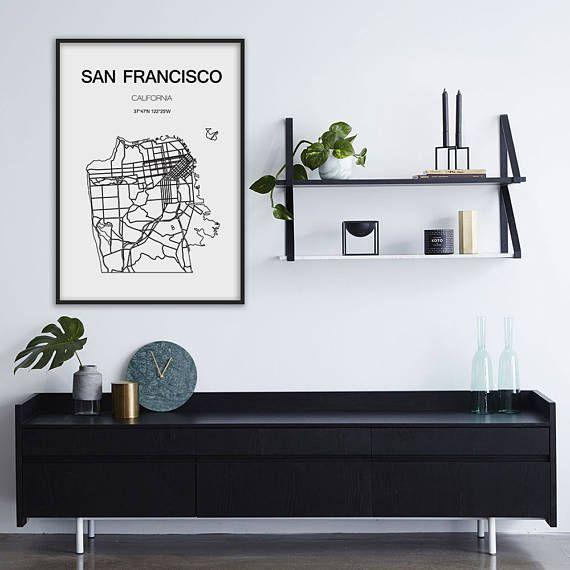 San Francisco map, San Francisco print, City maps, California map, San Francisco art, Scandinavian style, Minimalist art #mapsdecor #mapsprint #Printsforwalls #printsart #printswalldecor #printswallart #homedecoridea #citiesprints #travelprints #mapsprintable