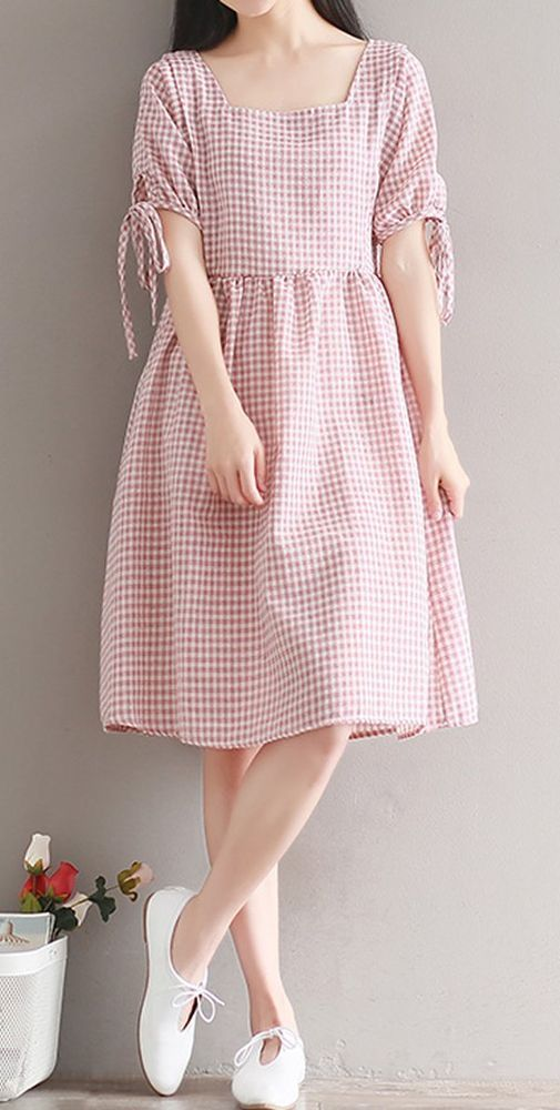 Women loose fit dress retro checkered skirt bow ribbon tunic short sleeve casual #unbranded #dress #Casual