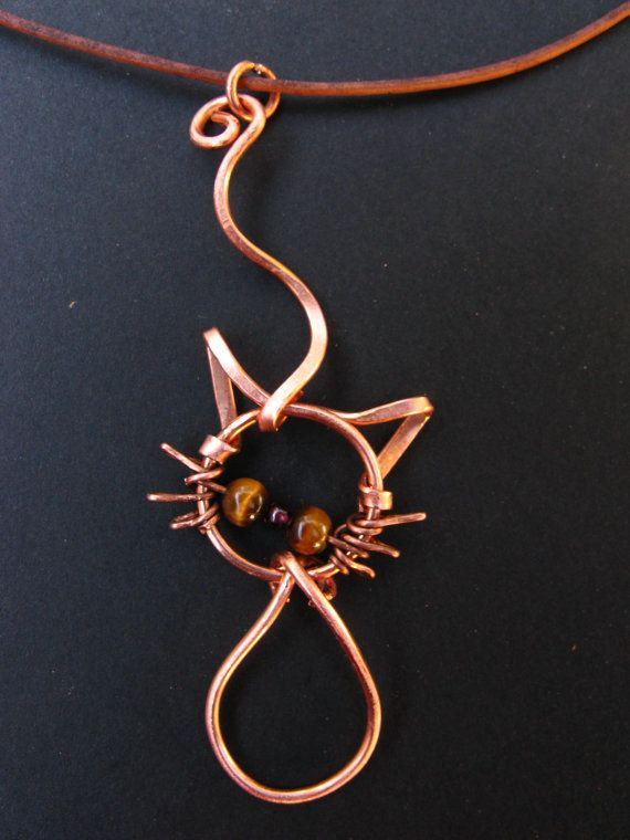 Cat-itude, cat charm pendant, Tiger Eye and Garnet  - hammered copper wire wrap