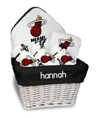 9 best calgary flames baby gifts images on pinterest baby gifts our personalized miami heat medium gift basket is a perfect basketball baby gift with 3 burp negle Choice Image