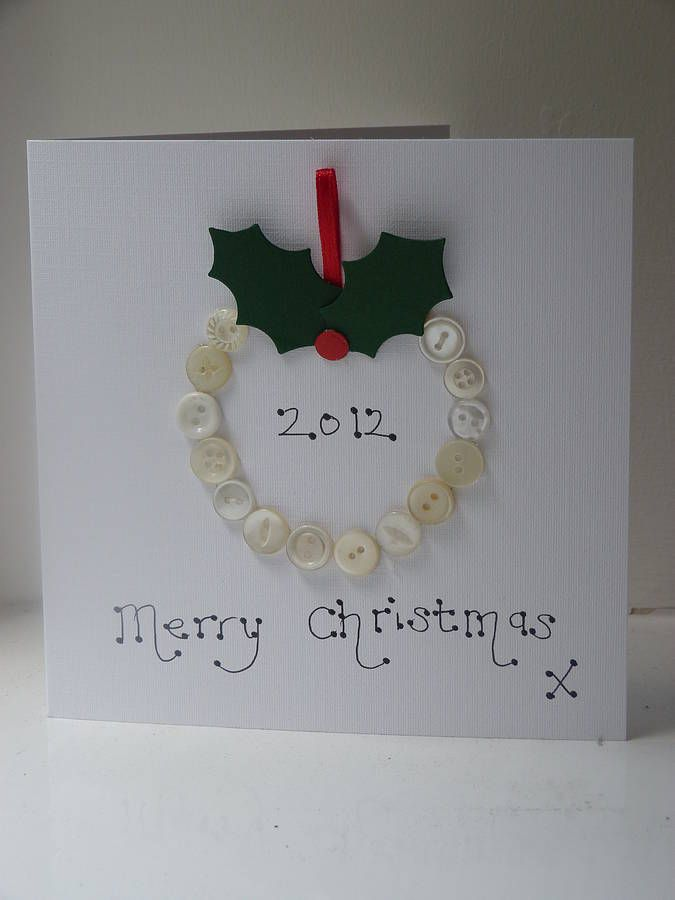 Personalised Vintage Button Christmas Card