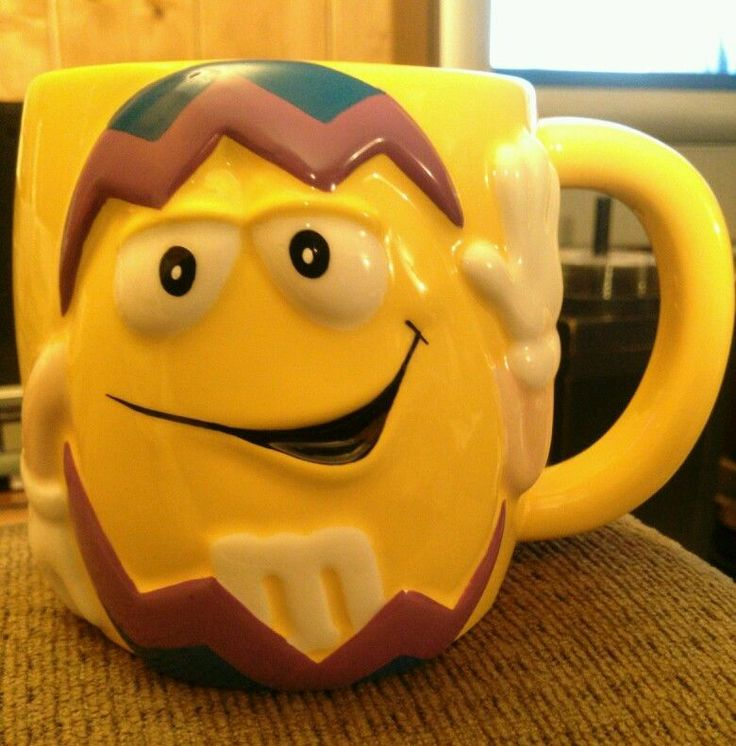 "M&M Galerie Large Ceramic Easter Yellow on Purple Tea Mug Cofee Cup 4"" Tall M&Ms #MMs"