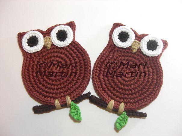 Sweet Owl Coasters ~ no pattern #crochet #owl