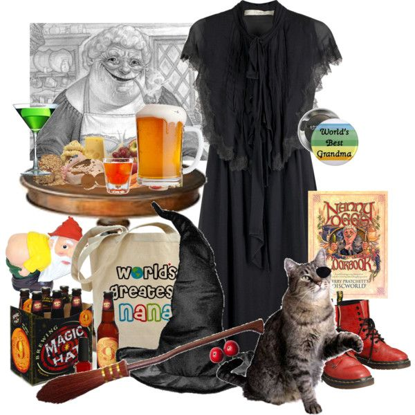Nanny Ogg by counterlines on Polyvore featuring Hanii Y, Dr. Martens, FRUIT, witch, discworld, terry pratchett and nanny ogg