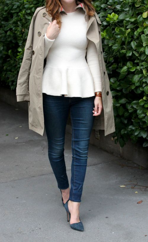 Neutrals, loving this long sleeve peplum top... NEED!