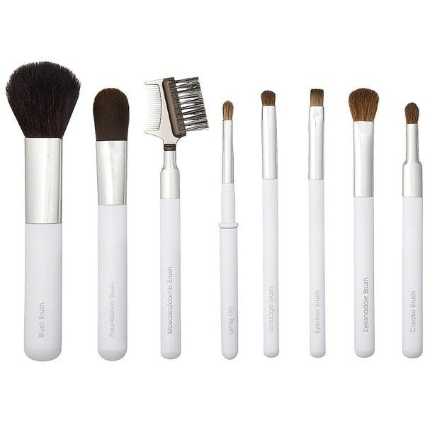 Sonia Kashuk Deluxe Travel Brush Set ($21) ❤ liked on Polyvore featuring beauty products, makeup, makeup tools, makeup brushes, fillers, beauty, accessories, white, makeup tools & brushes and makeup powder brush