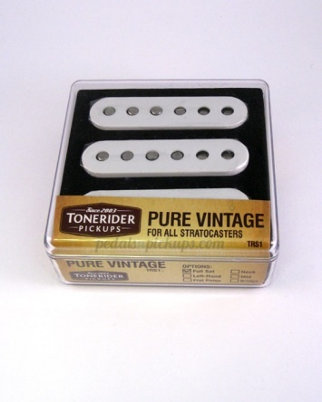Tonerider Pure Vintage Pickup Set Perfect for rhythm parts and rich, clear leads. Designed for players who don't need more output, but seek the sought-after strat sound. The perfect choice for Knopfler, Clapton or Gilmour tones. Uses a mix of Alnico V and Alnico III magnets. £79.95
