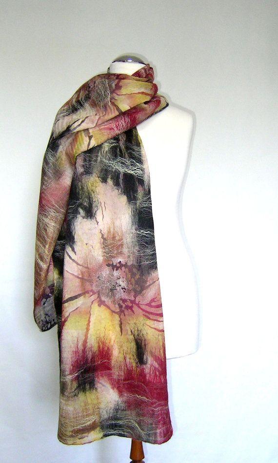 Absolutely gorgeous!!   Burgundy beige pink black shawl scarf for all seasons felting wool luxury cape wedding bridesmaid idea for her autumn fall fashion. $77.00, via Etsy.