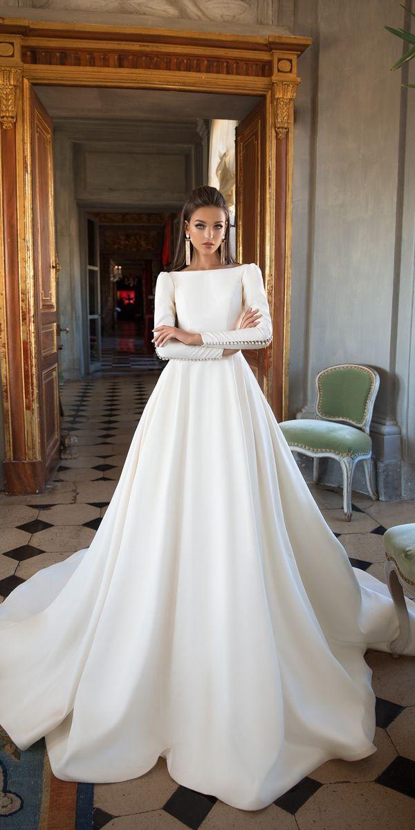 Slash neck, button sleeve wedding dress