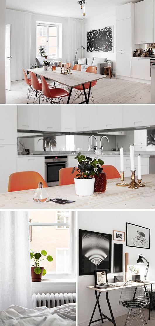 1) Den stora tavlan ovanför soffan. Torde vara gamska lätt att fixa själv med en vit canvasduk från Panduro, lite svart färg och en bred pensel. Och 2) Köksbordet. En naken träskiva på bockben från IKEA. Enkel att anpassa bordsskivans längd och bredd efter de mått just du har i ditt kök/matrum.