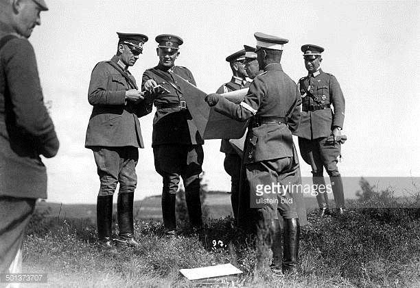 Werner von Blomberg (02.09.1878-14.03.1946) German officer minister of defence 1933-1938 Blomberg (3rd from left) during a manoeuvre of the German army .