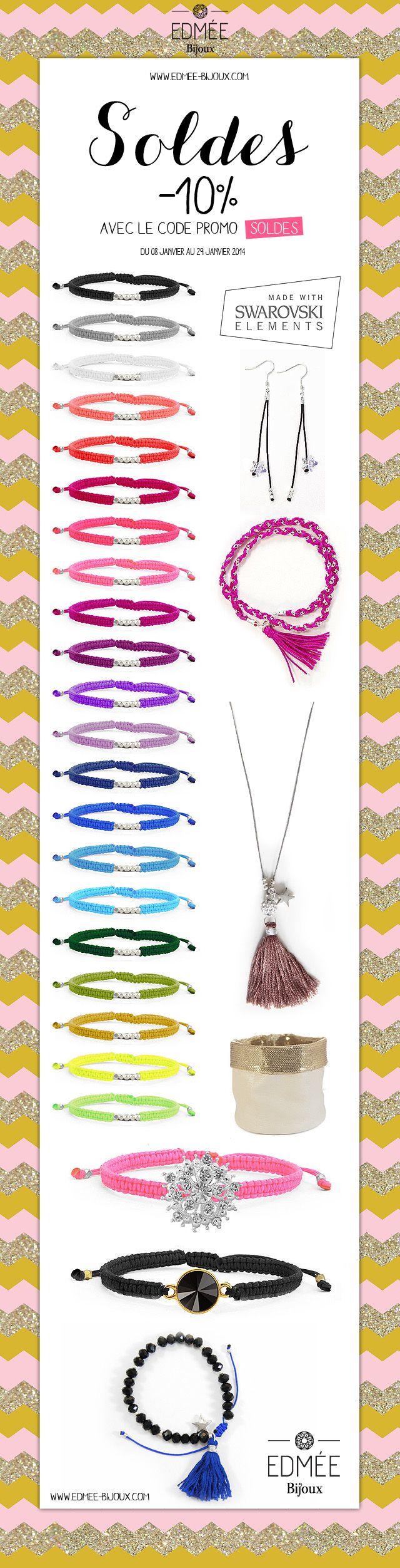#soldes #sales www.edmee-bijoux.com #bracelet #necklace #earrings #ring #jewellery #jewels #swarovski #friendship #shamballa