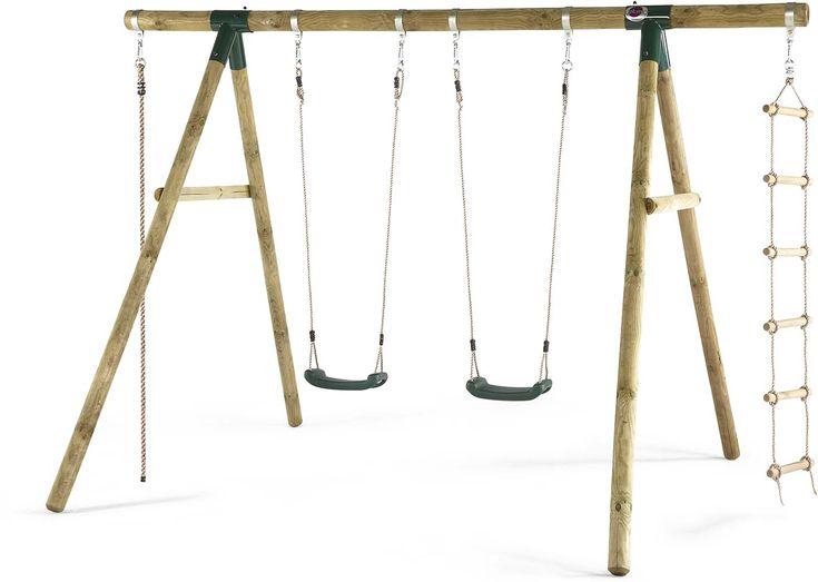 Portique en bois avec balançoire -échelle et corde