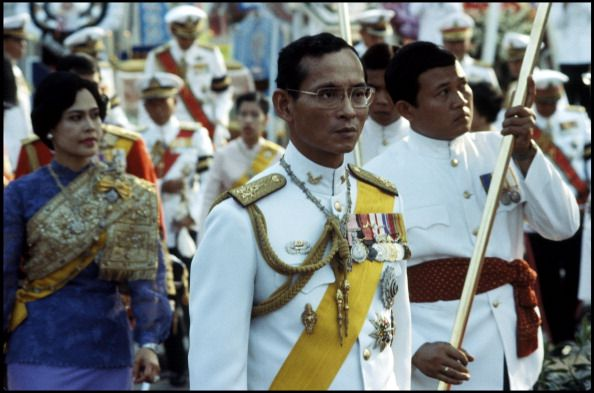 King Bhumibol Adulyadej of Thailand and Queen Sirikit seen during the 180th Commemoration of the Birth of King Mongkut who is acknowledged as the...