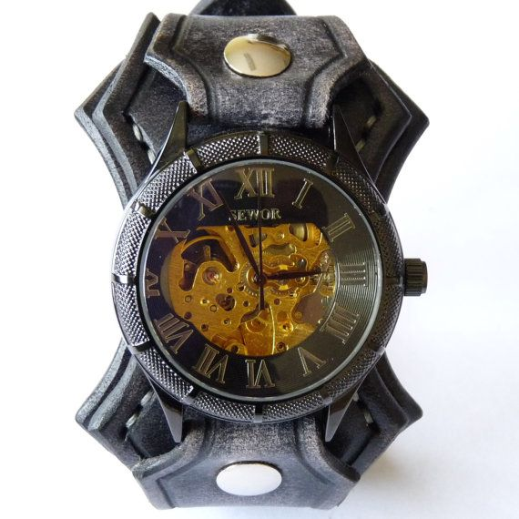Steampunk Leather Watch, Vintage Black Leather Wrist Watch