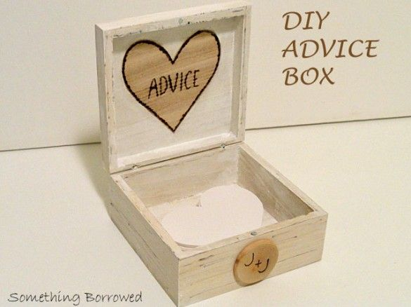 DIY Wedding Advice Box -- This is so adorable! #LoveIt | something-borrowed-wedding.com