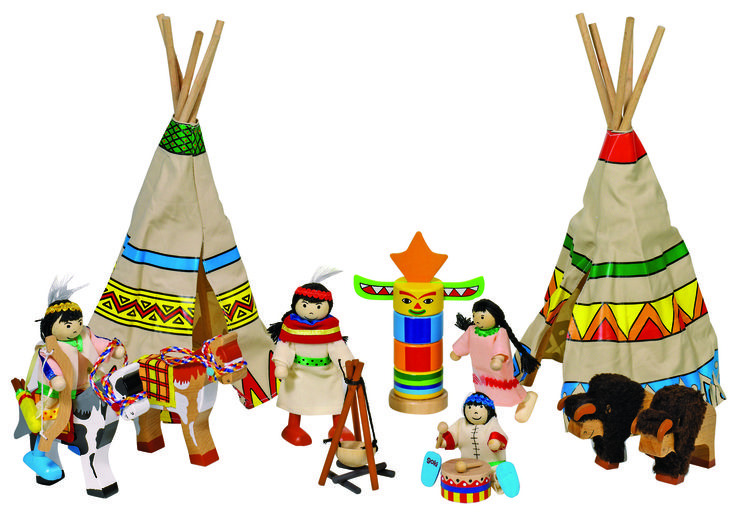 CAMPAMENTO INDIO DE MADERA Un campamento indio con todos los accesorios, 14 piezas. Están incluidos cuatro muñecos, dos tiendas de campaña, una hoguera, animales, un tótem y mucho más. Apoya a la creatividad de tu hijo, y promueve las habilidades emocionales y sociales. Medidas aproximadas: 9-11 cm cm.Materiales: Madera Textil Edad recomendada: Desde 3 años. Precio: 37.20 €