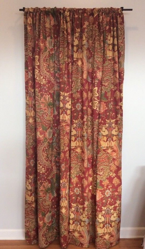 Pottery Barn Clara Burnt Red Rust Floral Drapes Curtain
