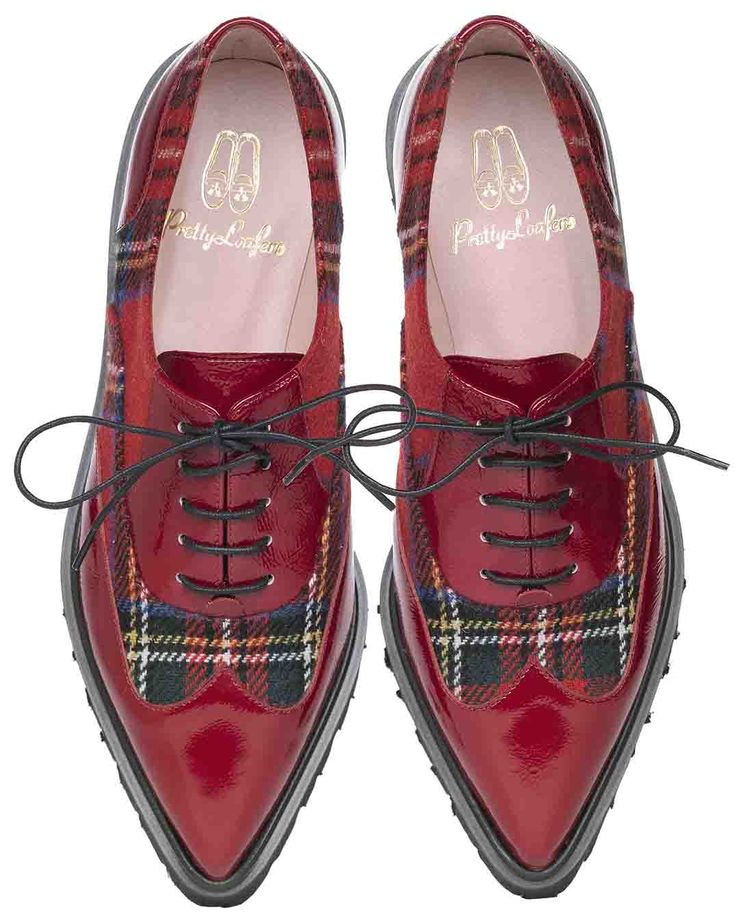 Red patent leather and tartan oxfords!