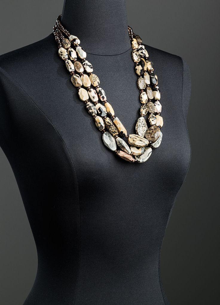 Jasper & Smokey Topaz Necklace 18K Gold