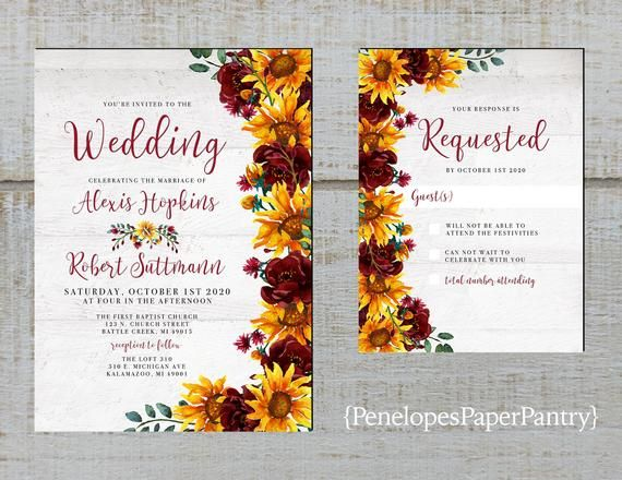 Rustic Sunflower Wedding Invitation,Sunflowers,Burgundy Roses,Greenery,White Barn Wood,Shabby Chic,Printed Invitation,Wedding Set,Envelopes