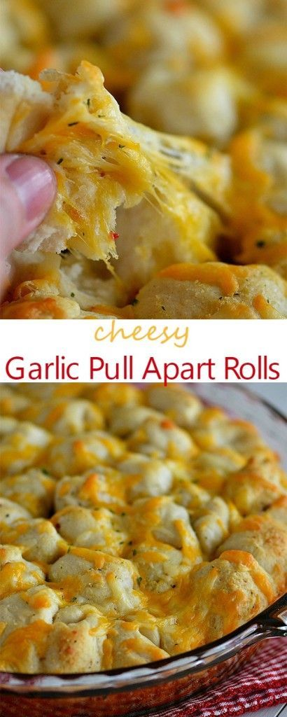 Cheesy Garlic Pull Apart Rolls ~ These bite-sized rolls are full of cheesy goodness! Always a hit when I serve them!