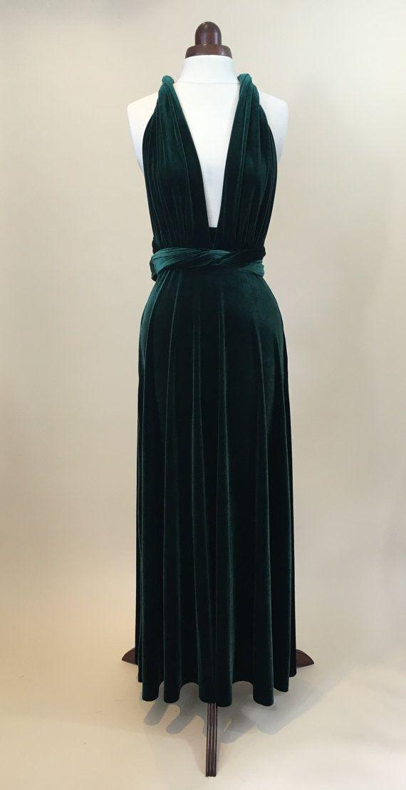 Grünen Samtkleid Unendlichkeit Kleid Brautjungfer von Valdenize