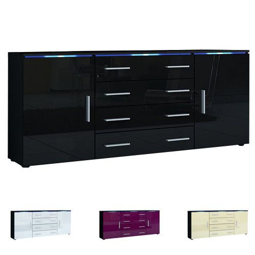 Modern Sideboard Buffet Server Storage Cabinet Chest Faro V2 Black - High Gloss