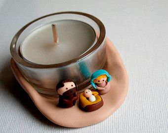Candle Christmas nativity scene handmade polymer clay miniature