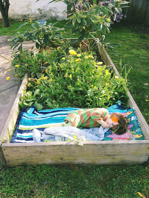 Fun In The Garden Childs Bed In a Flower Bed by Girls