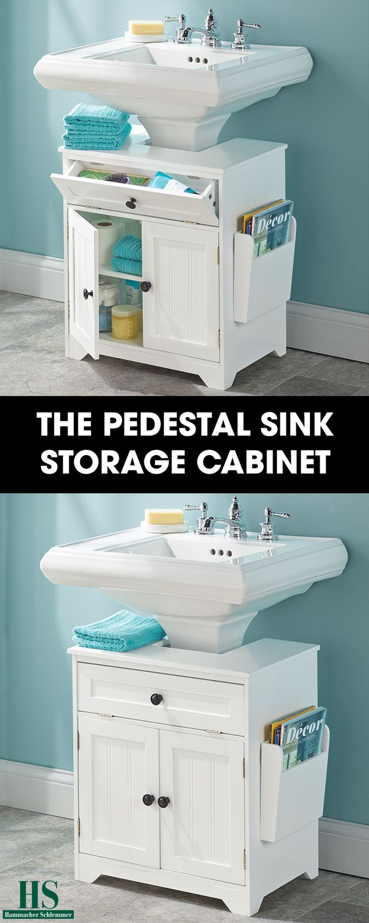 "The Pedestal Sink Storage Cabinet - This is the bathroom cabinet that surrounds a pedestal sink to provide extra storage and organization. Developed exclusively by Hammacher Schlemmer, it converts any pedestal sink into a storage-friendly vanity with an 8 1/2"" D x 8 1/4"" W opening that comfortably nestles around a standard pedestal base."