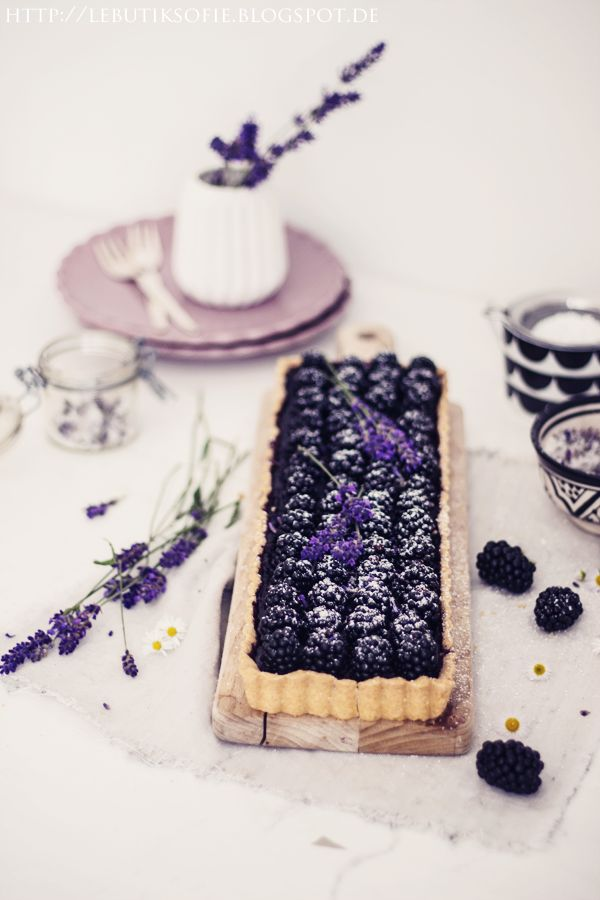 Blackberries & lavender tart