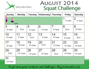 Squat Challenge - August 2014 - Yvette Salva Fitness Blog