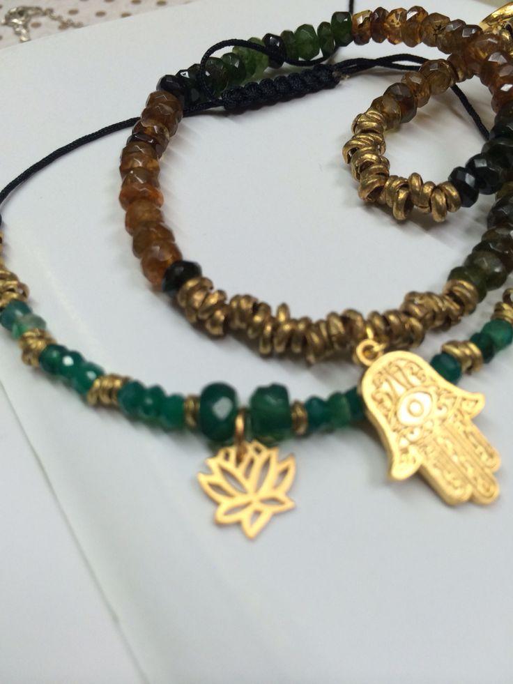 Pulseras Mano de Fátima y flor de loto con piedra ónix verde (paulina9528@hotmail.com)