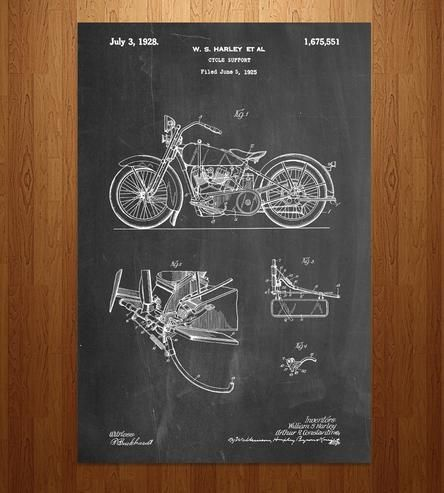 This art print features the original patent filed for a Harley motorcycle. Printed on your choice of colored paper, the print features a full schematic of the invention, with all of the official notes, signatures and markings of the original paperwork.