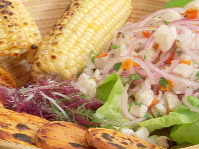 Get this all-star, easy-to-follow Peruvian Fish Ceviche recipe from Boy Meets Grill.